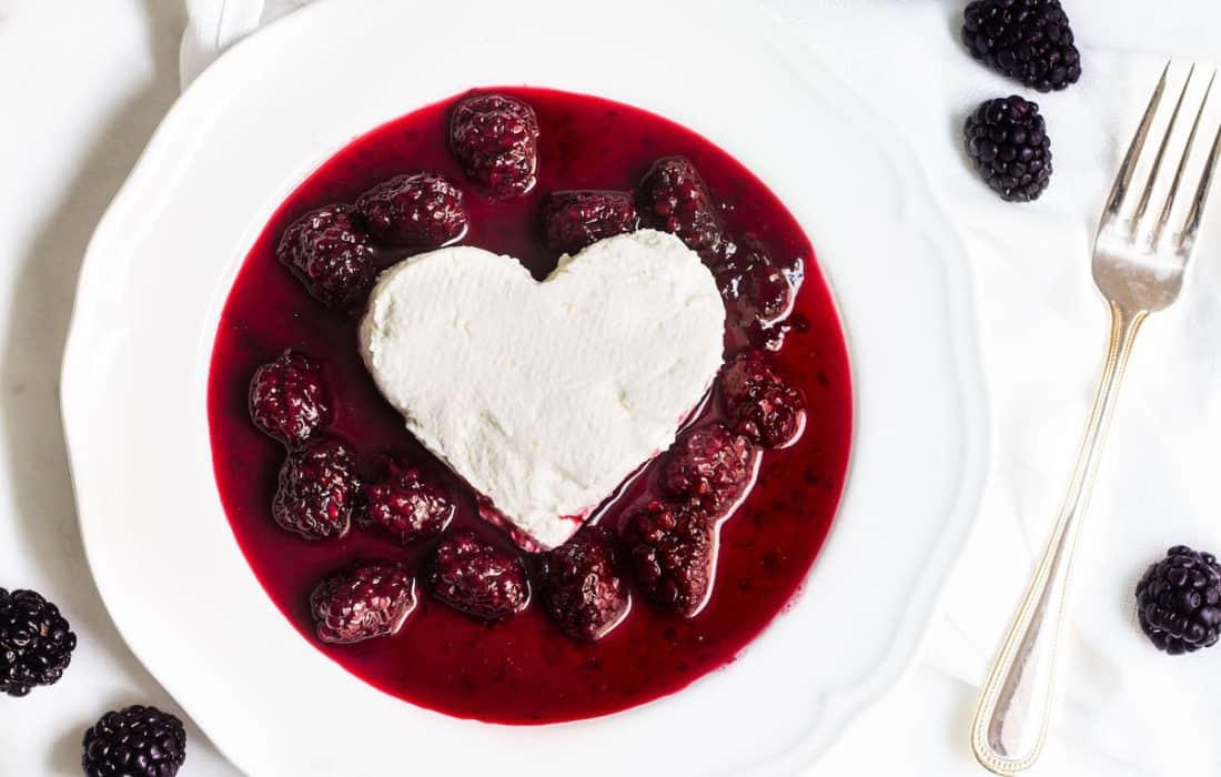 Coeur a la Creme with Blackberry Sauce
