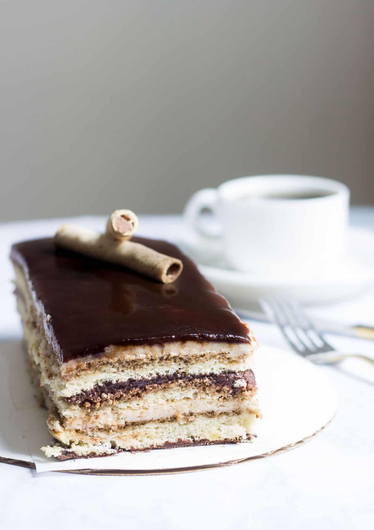 Opera Cake Made Easy! Create this beautiful and delicious coffee-flavored cake via MonPetitFour.com