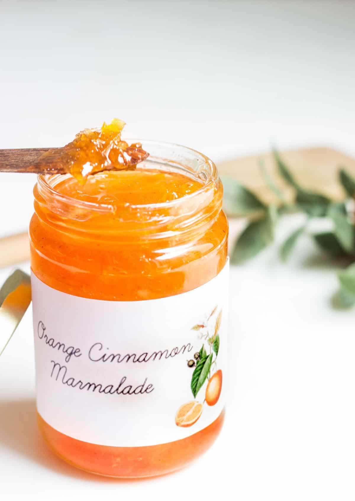 orange marmalade on a spoon