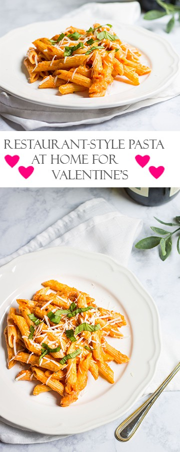 Pasta with Tomato Cream Sauce: Make a restaurant-style meal at home for you and your Valentine! Recipe via MonPetitFour.com