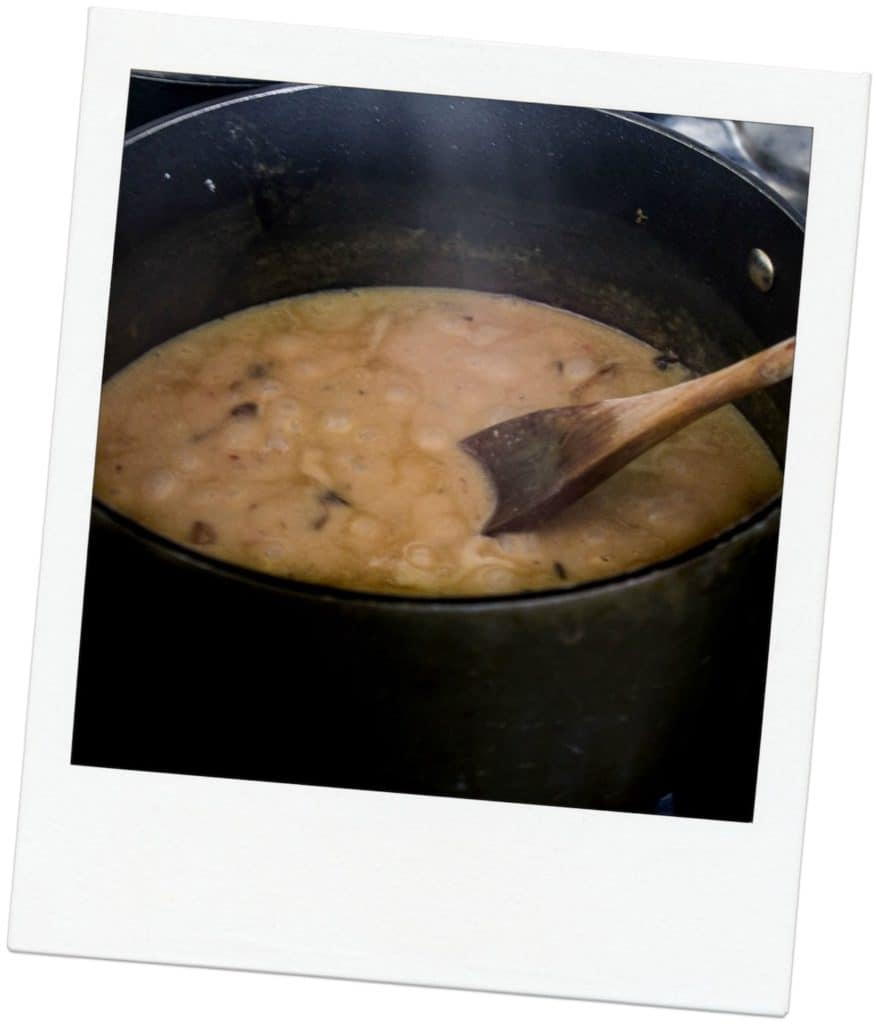 Chicken Fricassee: a one-pot chicken dinner made with mushrooms, tarragon, and a cream sauce. Easy weeknight dinner! Recipe via MonPetitFour.com