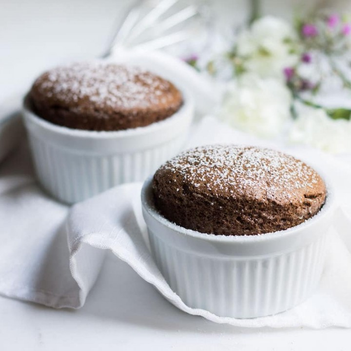 Easy Chocolate Souffle Recipe in ramekins