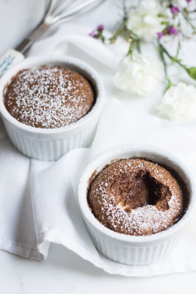 the interior of the chocolate souffle image