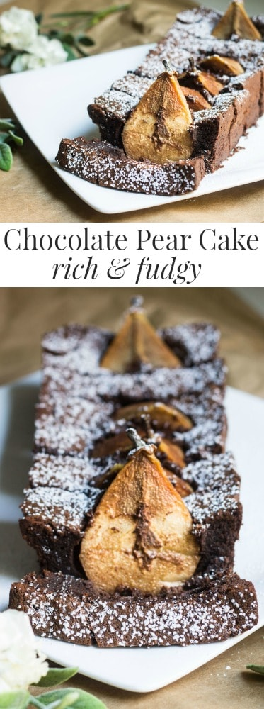 Chocolate Pear Cake: sweet Anjou pears dunked in a rich and fudgy chocolate cake. Recipe via MonPetitFour.com