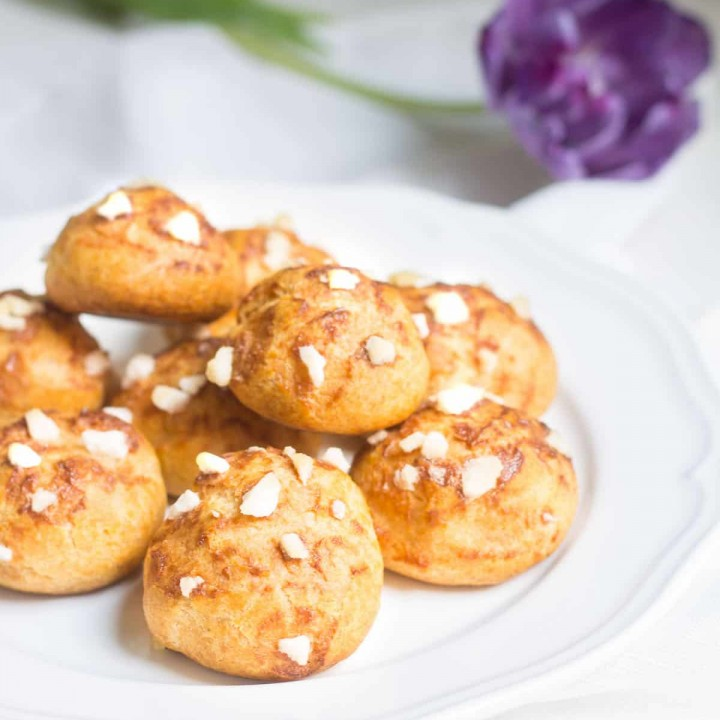 Chouquettes: pastry puffs topped with pearl sugar. Recipe via MonPetitFour.com