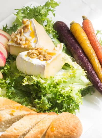 Endive Salad with Baked Brie, Roasted Carrots, and Apple Slices
