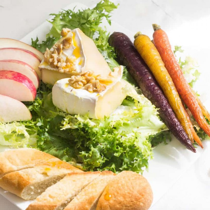 Endive Salad with Baked Brie: A perfect lunch salad or appetizer. Recipe via MonPetitFour.com