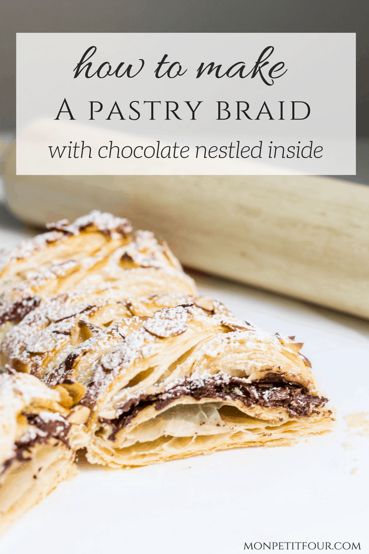 Chocolate Pastry Braid: 3-Ingredient French Dessert! Gooey chocolate nestled inside puff pastry and topped with sliced almonds. Easy recipe via MonPetitFour.com