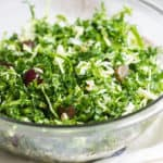 Kale Brussels Sprout Salad: A delicious & healthy, go-to salad to enjoy on its own or with your favorite entrée! Recipe via MonPetitFour.com