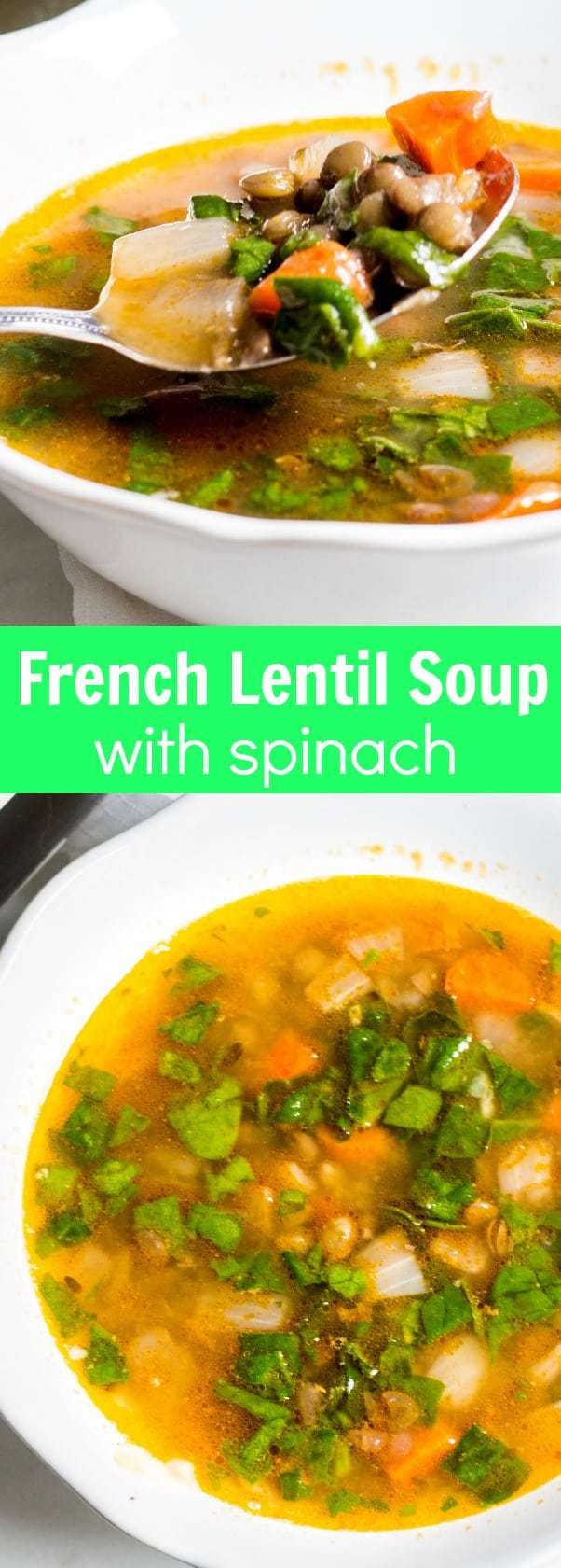 French Lentil Soup with Spinach: a comforting French soup that's hearty and delicious! Recipe via MonPetitFour.com