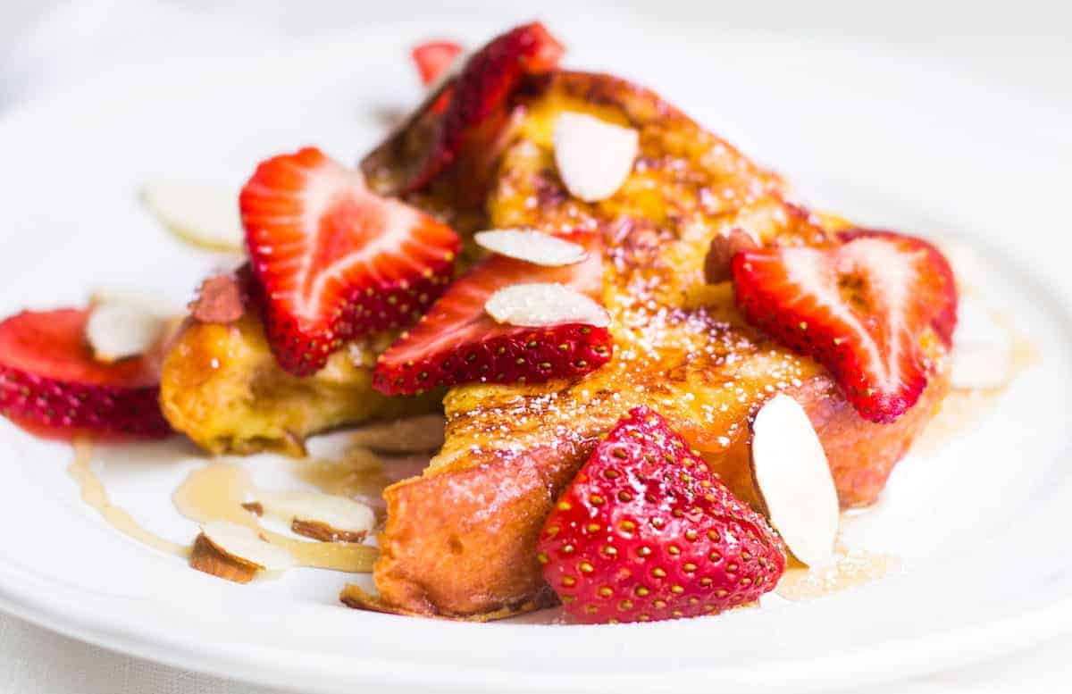 Pain Perdu: French toast made with brioche and fresh strawberries. Recipe via MonPetitFour.com