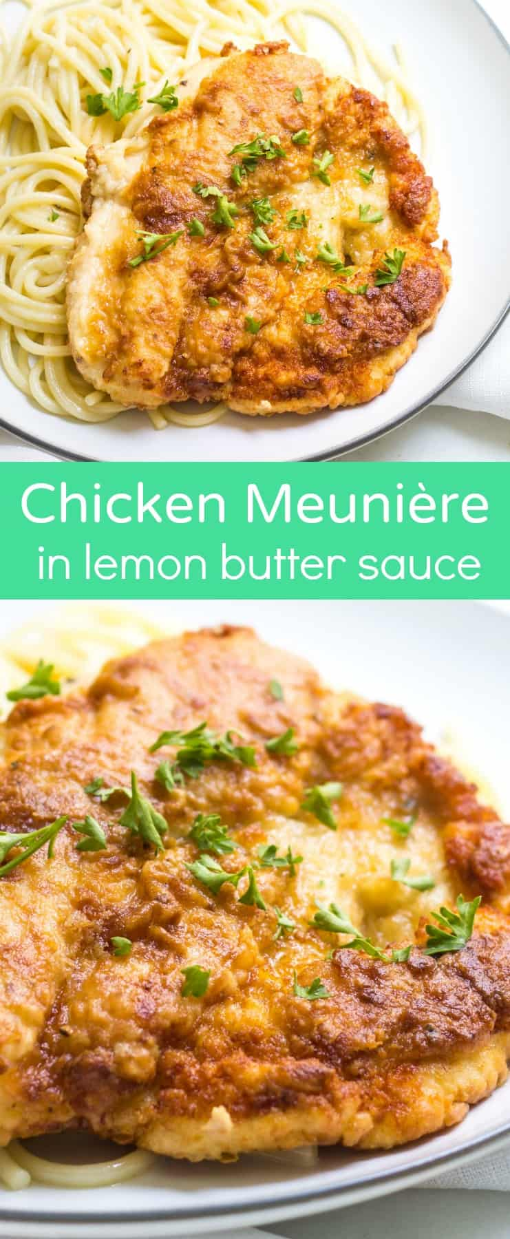 Chicken Meunière: chicken dredged in flour and fried, then topped with a lemon butter sauce. French Recipe via MonPetitFour.com