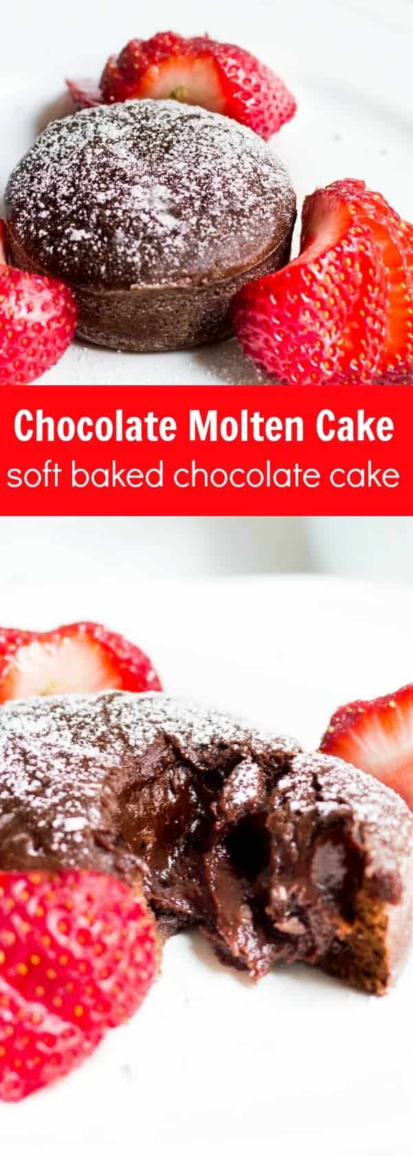 Molten Chocolate Cake: decadent little chocolate cakes with surprise gooey centers! Recipe via MonPetitFour.com