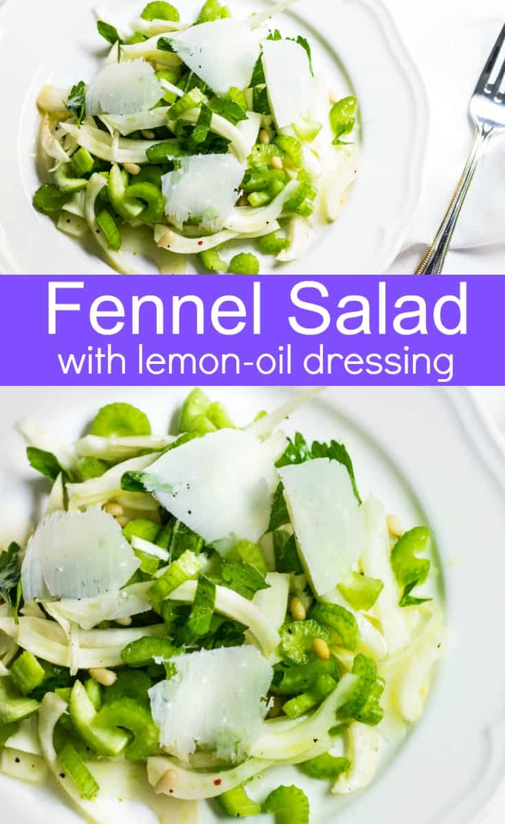 Fennel Salad: a light and refreshing mix made up of fennel, celery, pine nuts, and parmesan shavings. Recipe via MonPetitFour.com