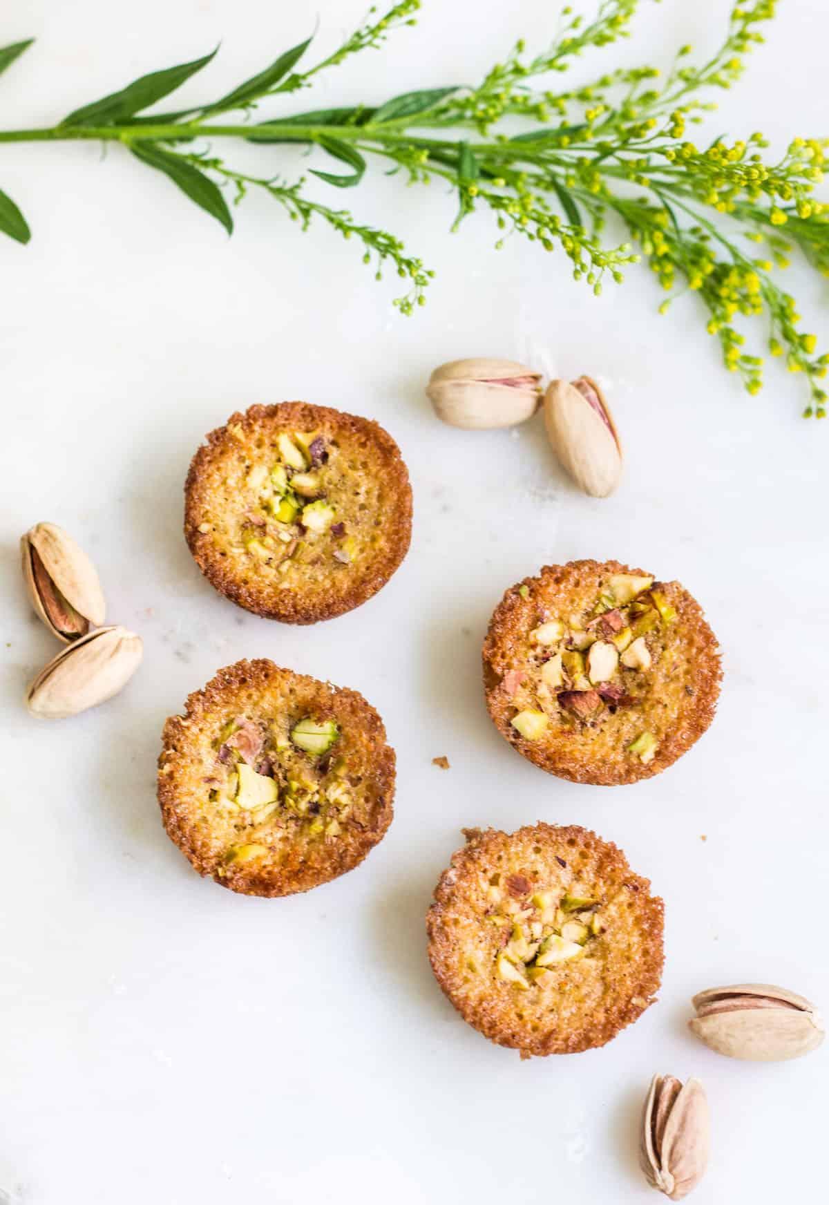 Pistachio Financiers: little almond French cakes flavored with pistachios and brown butter. Recipe via MonPetitFour.com