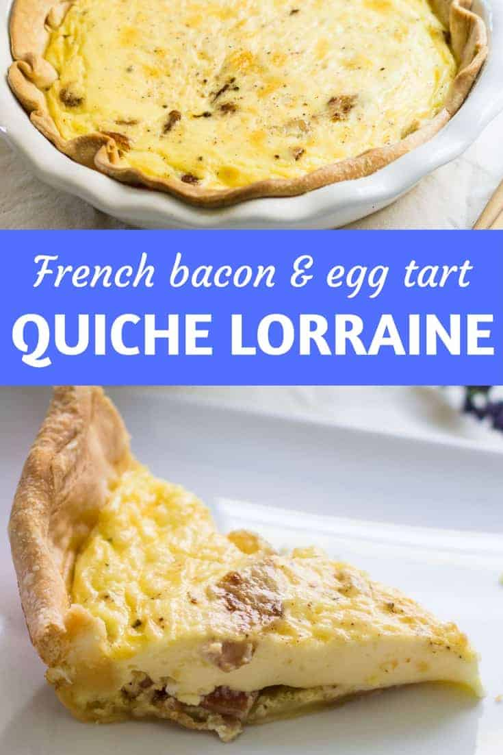 Quiche Lorraine: an easy, savory French tart made with eggs, cream, bacon, and pastry. Great as a breakfast or brunch dish, or an appetizer! Recipe via MonPetitFour.com