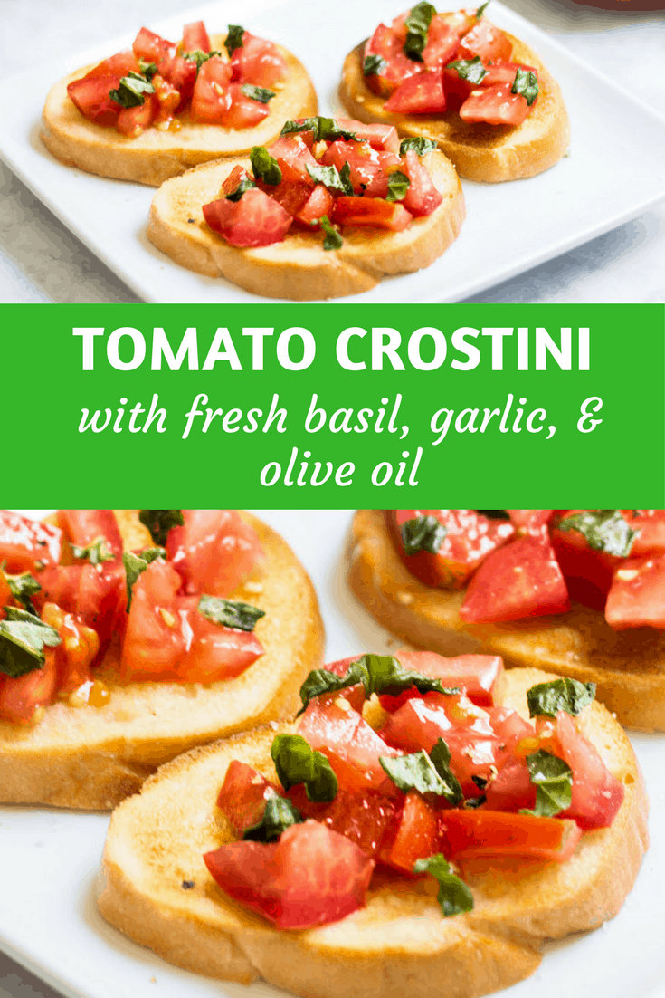 Tomato Crostini: easy appetizer idea using fresh tomatoes, basil, and garlic-flavored baguette slices. French recipe via MonPetitFour.com
