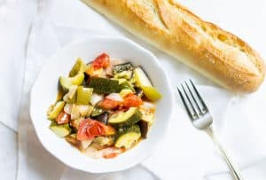 Easy Ratatouille: a French vegetable stew made with summer veggies. Super easy and perfect as a side or light entrée. Recipe via MonPetitFour.com