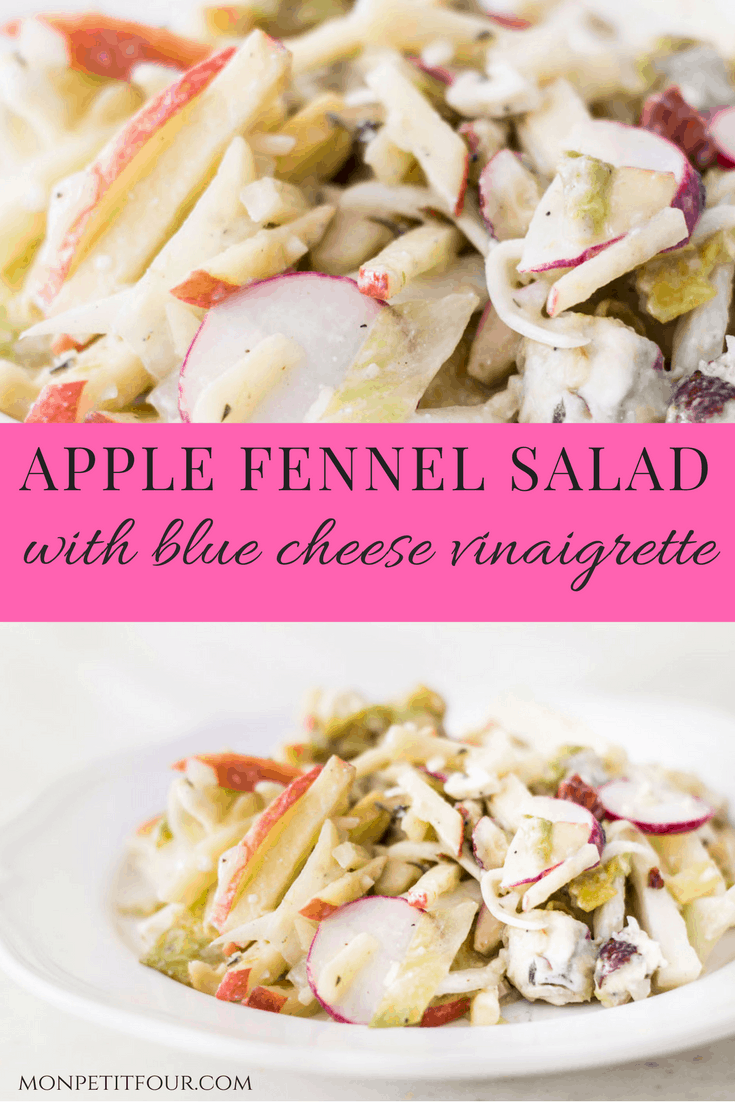 Apple Fennel Salad: a fall salad made with apples, fennel, Belgian endive, radishes, and a blue cheese vinaigrette. Easy, light, and delicious! French recipe via MonPetitFour.com
