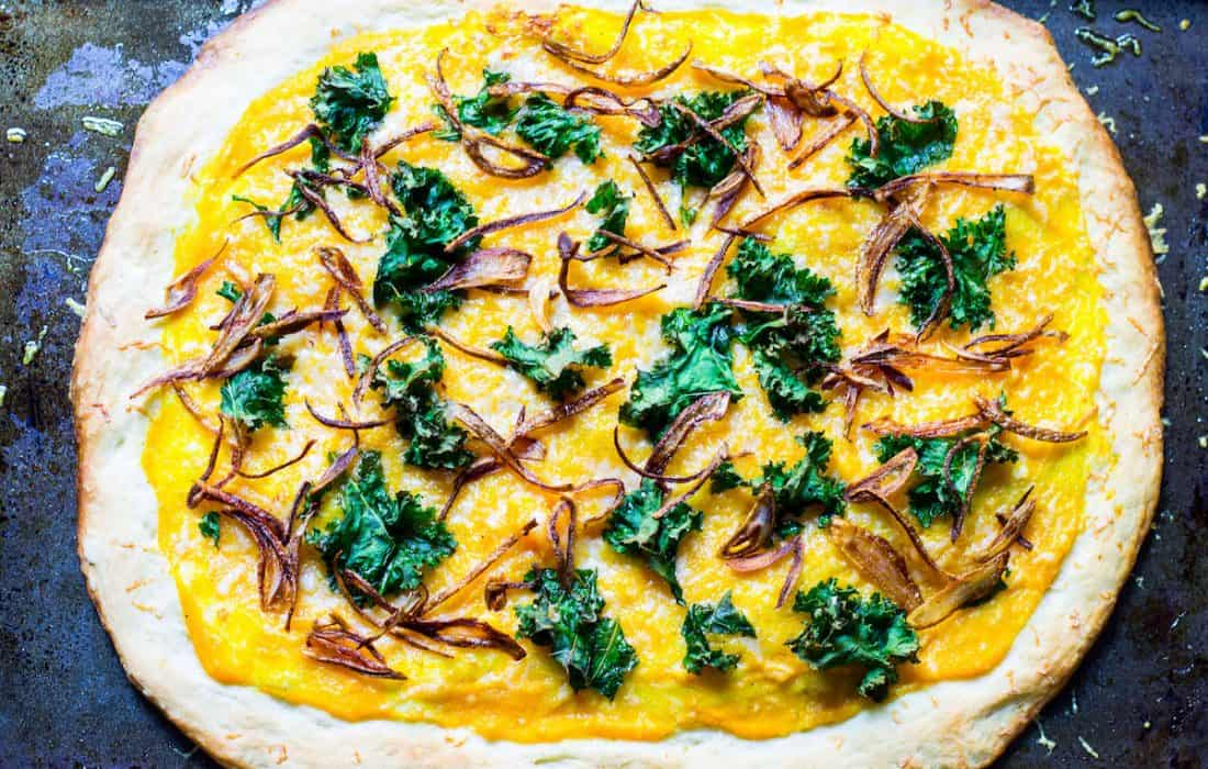 Butternut Squash Pizza with Crispy Kale and Shallots