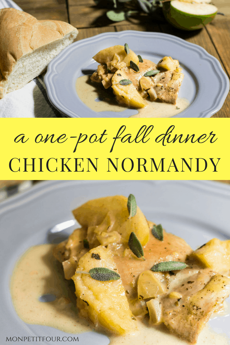 Chicken Normandy: a one-pot fall dinner made with braised chicken, apples, onion, apple cider, and cream. Recipe via MonPetitFour.com