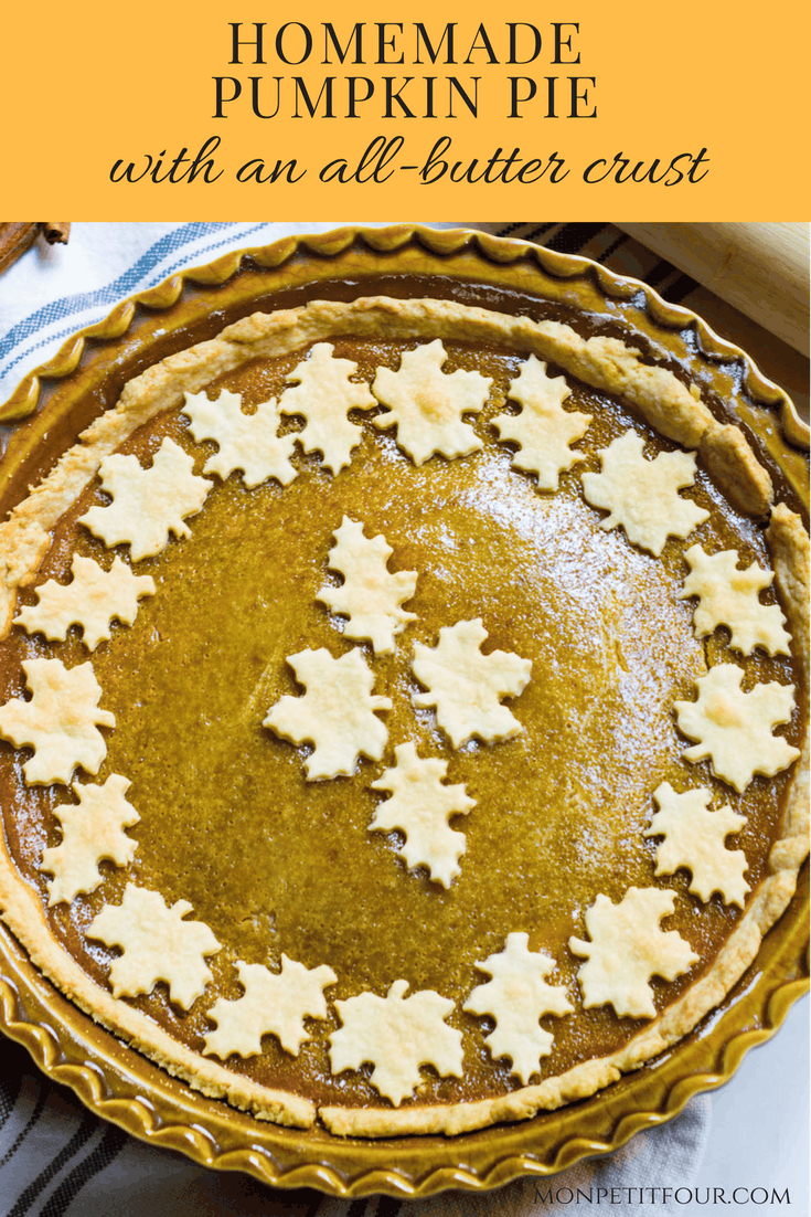 Homemade Pumpkin Pie: a delicately spiced and sweet pumpkin pie made with a homemade, all-butter crust. Perfect for Thanksgiving or any fall holiday. Recipe via MonPetitFour.com