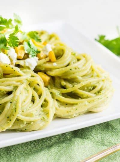 Pasta Poblano: a creamy pasta recipe made with poblano chiles, jalapeño, cilantro, and fresh crema sauce. Tasty, quick, and easy weeknight dinner! Recipe via MonPetitFour.com