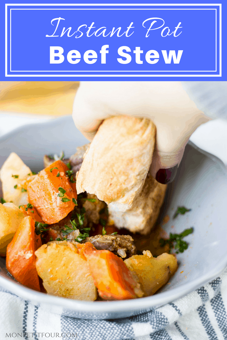 Instant Pot Beef Stew: a delicious beef stew made in the Instant Pot in half the time! A cozy, hearty meal for cold weather months. French recipe via MonPetitFour.com [ad]