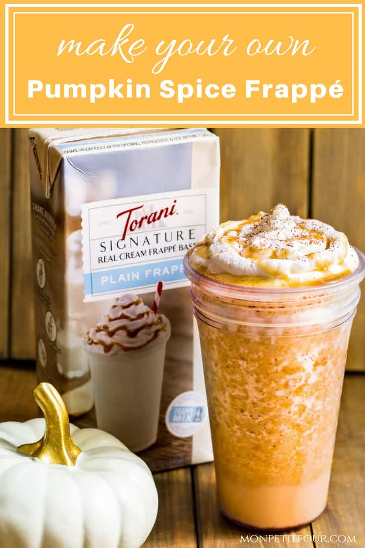 Pumpkin Spice Frappé: a rich and creamy blended drink flavored with pumpkin and pumpkin pie spice. Made with Torani Real Cream Plain Frappé Mix. Recipe via MonPetitFour.com #ad #MyToraniFrappe