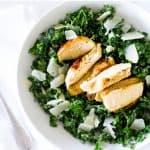 kale caesar salad overhead shot