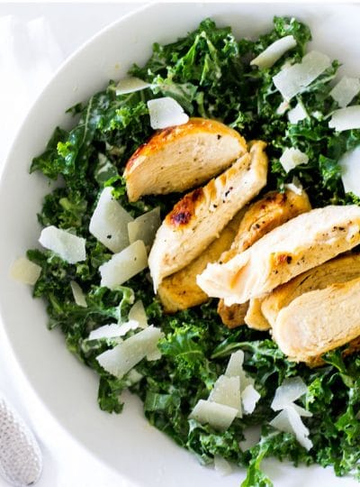 Kale Caesar Salad with Grilled Chicken