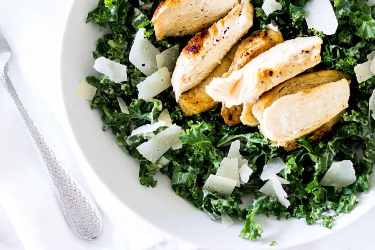 kale caesar salad close-up shot