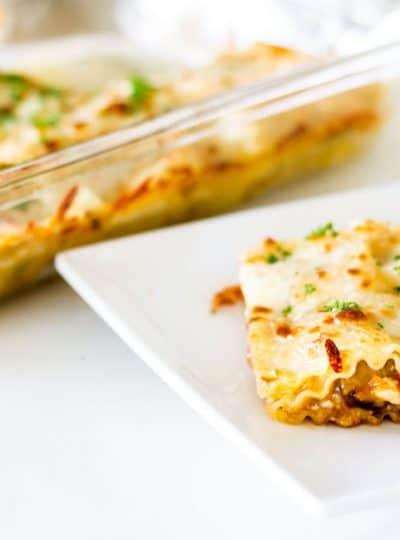 Easy Beef Lasagna serving via Mon Petit Four