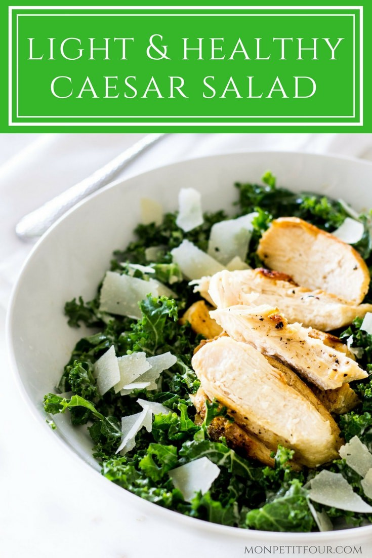 Kale Caesar Salad with Grilled Chicken: a quick, easy and healthy version of caesar salad. This lightened up recipe is via MonPetitFour.com