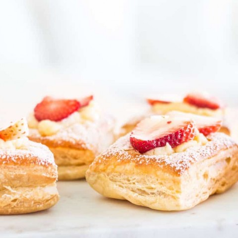 Strawberry croissants at eye-level view