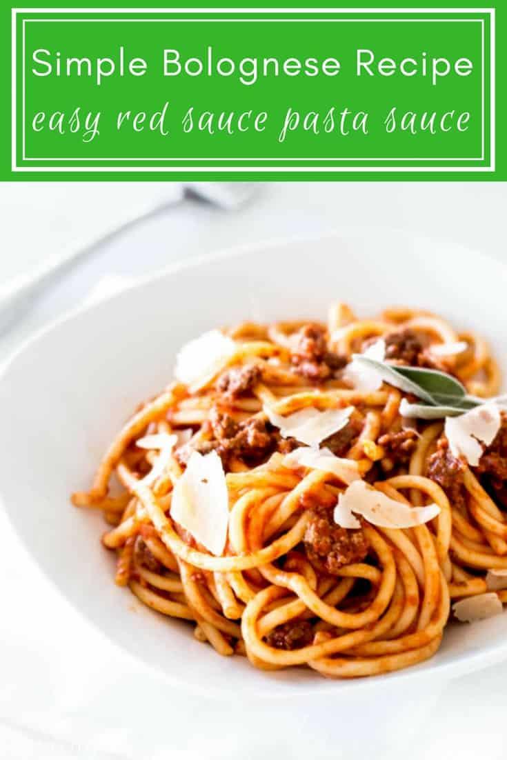 Simple Bolognese Recipe: easy red pasta sauce via MonPetitFour.com