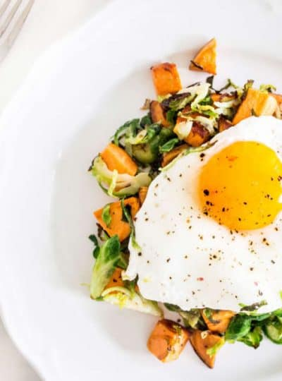 Sweet Potato Hash with Shaved Brussels Sprouts overhead shot