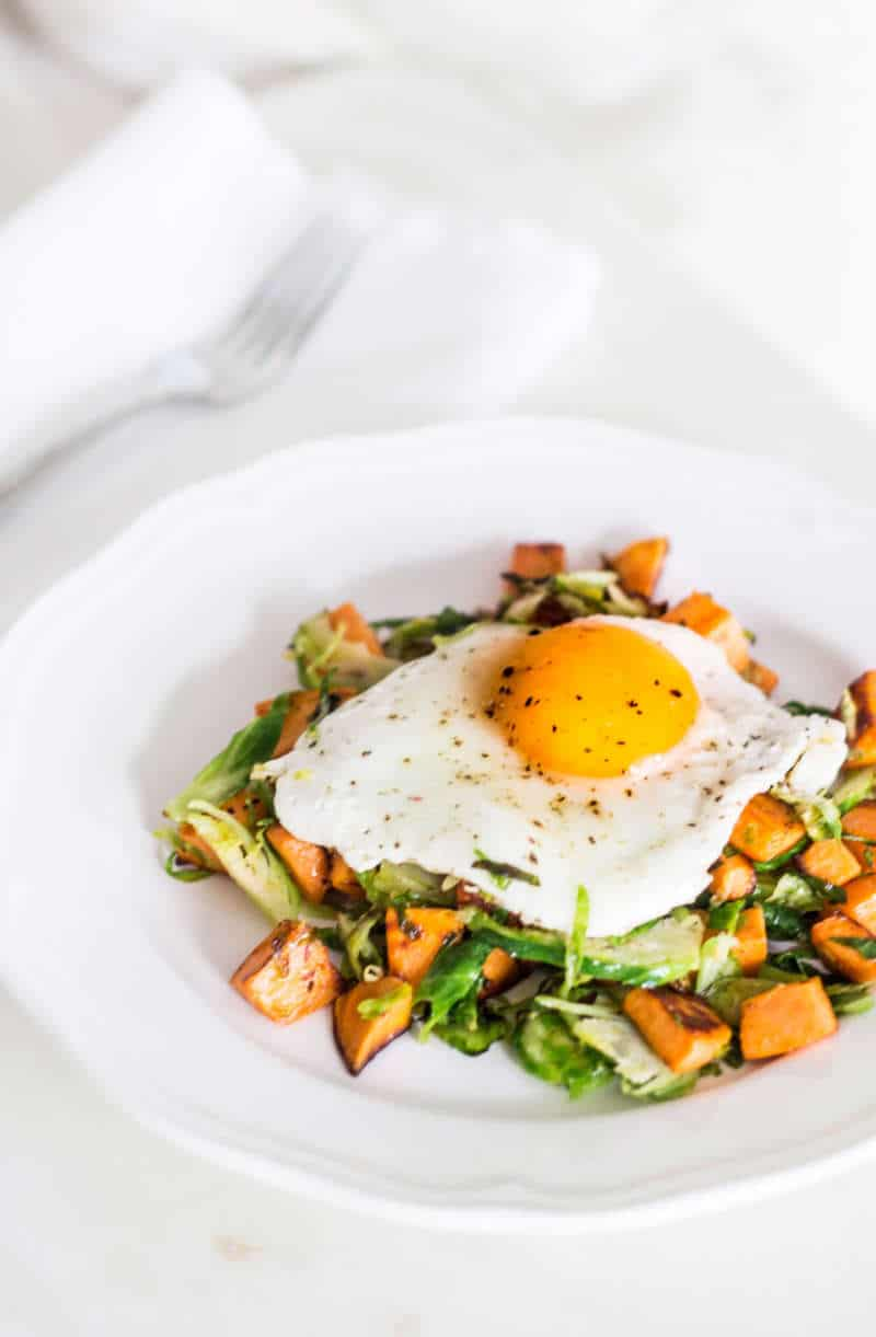 Sweet Potato Hash with Shaved Brussels Sprouts portrait view