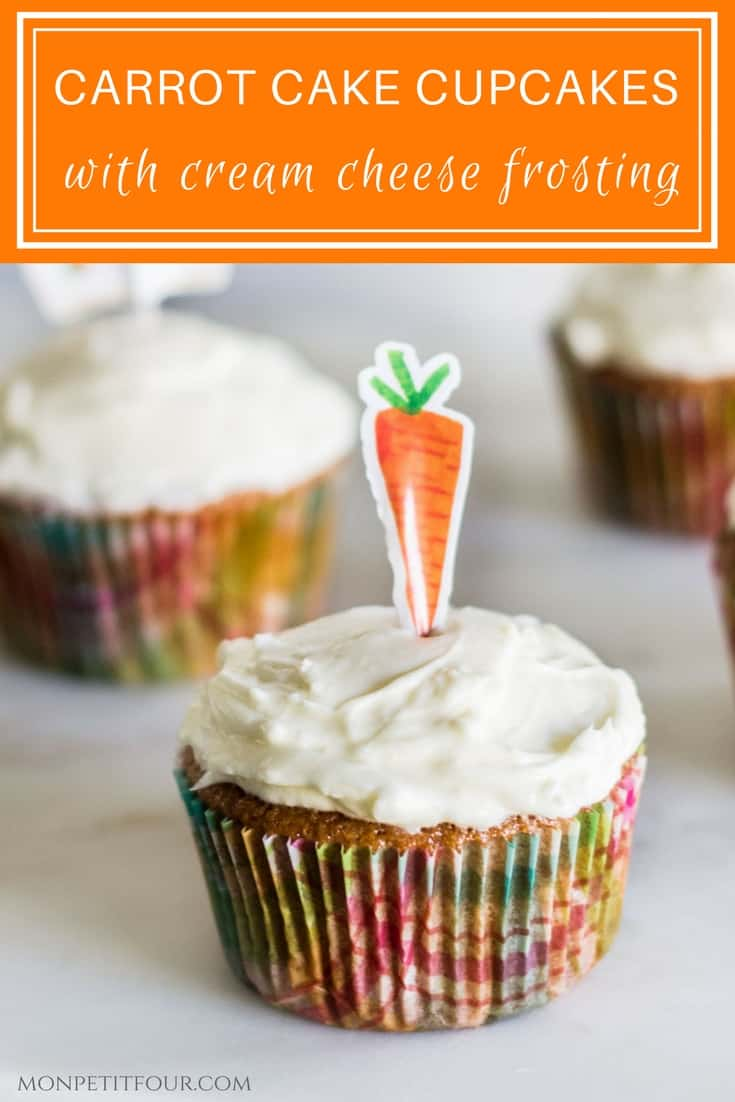 Easy Carrot Cake Cupcakes with Cream Cheese Frosting. Best recipe via MonPetitFour.com