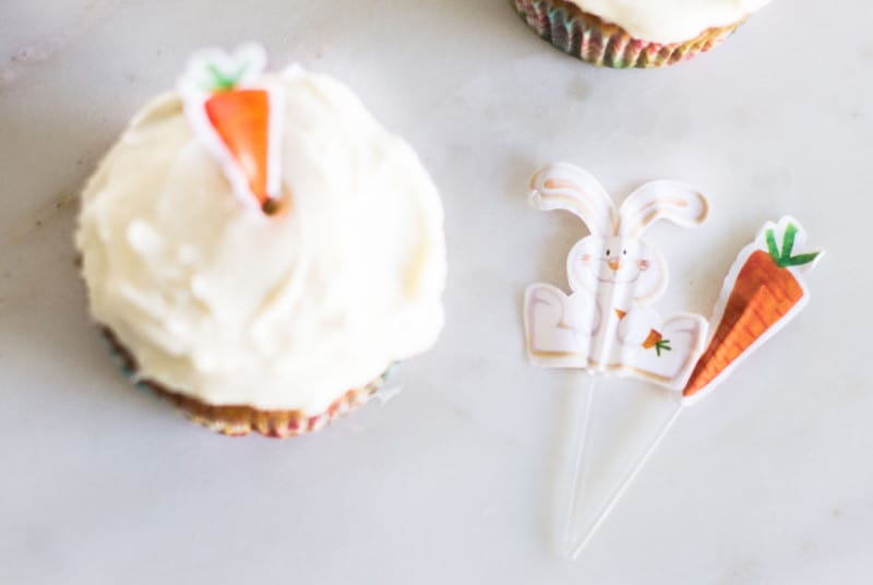 Carrot Cake Cupcakes decorative toppers bunny and carrot