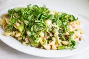 Pasta with Asparagus, Peas, and Fava Beans wide angle shot
