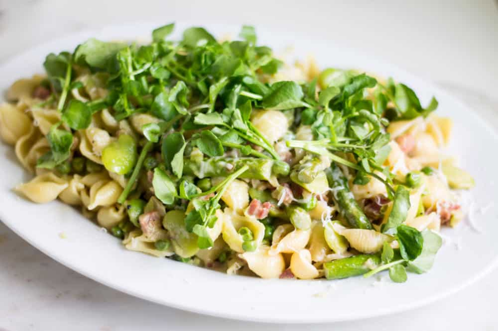 Pasta with Asparagus, Peas, and Fava Beans