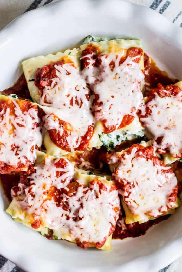 lasagna rolls in a baking dish overhead shot
