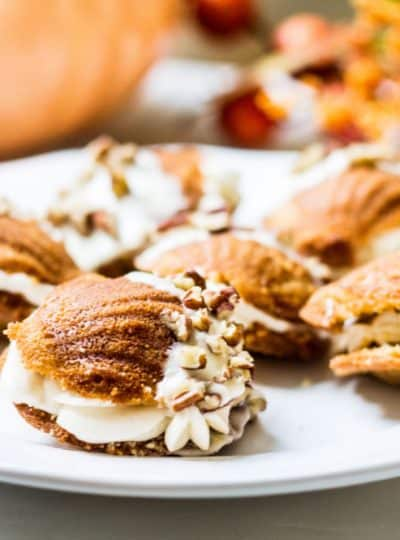 Pumpkin Spice Madeleine Sandwiches with Caramel Cream