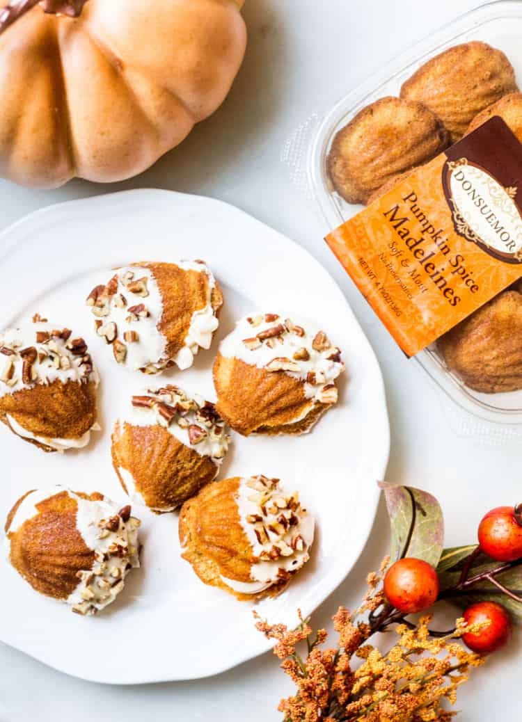 Donsuemor pumpkin spice madeleines dessert sandwiches overhead shot