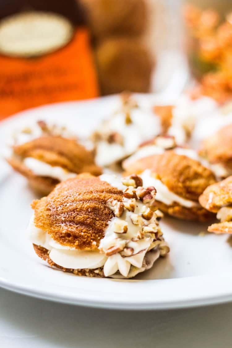 Donsuemor pumpkin spice madeleines dessert sandwiches with caramel cream