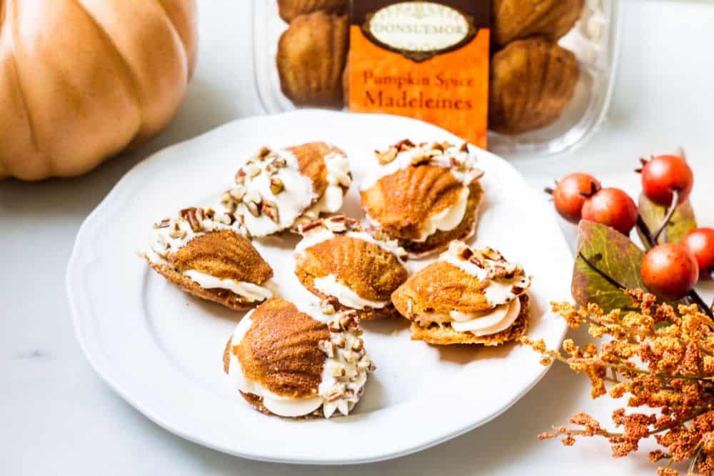 Donsuemor pumpkin spice madeleines dessert sandwiches next to box