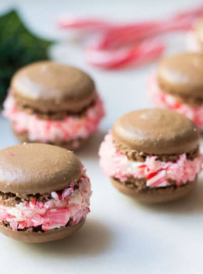 chocolate macarons with a peppermint cream filling