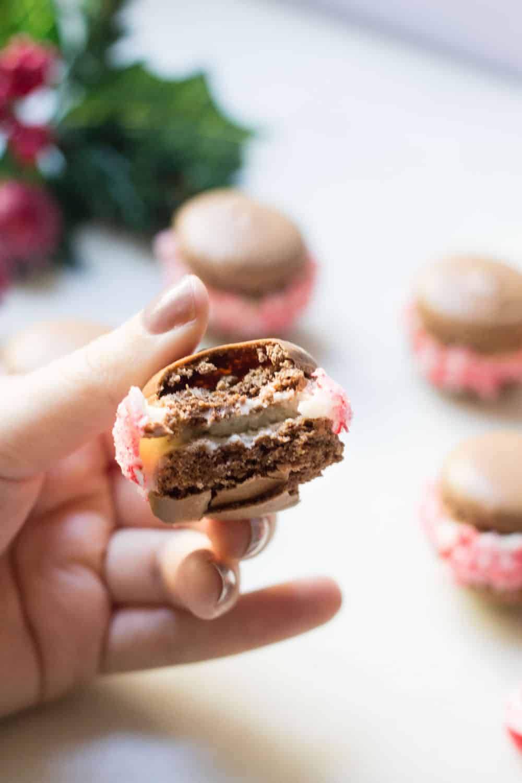 bite of chocolate macaron