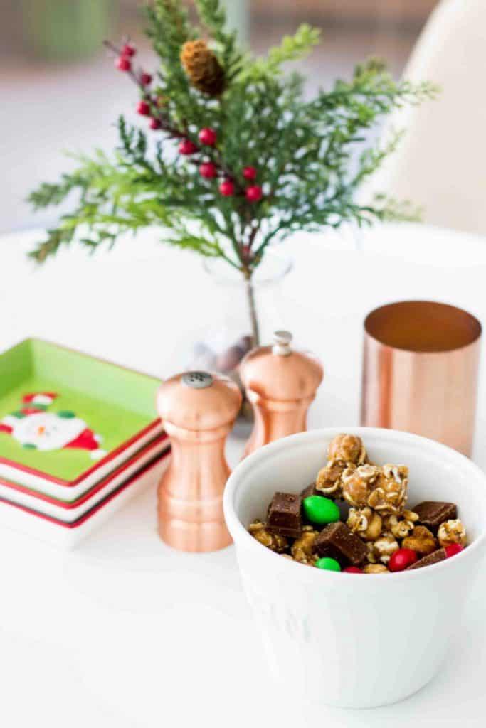 christmas moose crunch in popcorn bowl